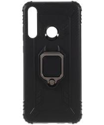 Huawei Y6p Kickstand Back Cover Zwart