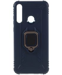 Huawei Y6p Kickstand Back Cover Blauw