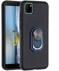 Huawei Y5p Siliconen Kickstand Cover Zwart / Blauw