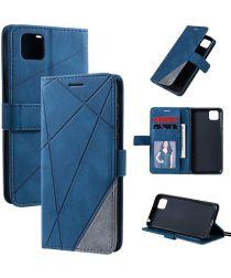 Huawei Y5p Geometrich Portemonee Hoesje Blauw