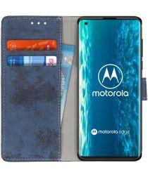 Motorola Edge Retro Portemonnee Hoesje Blauw