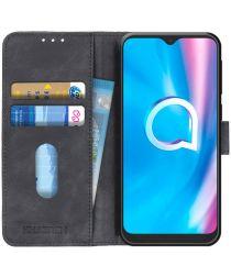 Alcatel 1SE (2020) Hoesje Retro Wallet Book Case Zwart