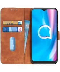 Alcatel 1SE (2020) Hoesje Retro Wallet Book Case Bruin