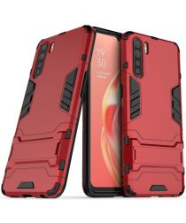Oppo A91 Hoesje Shock Proof Back Cover Met Kickstand Rood