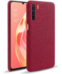 Oppo A91 Stof Hard Back Cover Rood