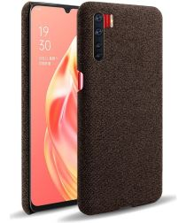 Oppo A91 Stof Hard Back Cover Coffee