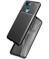 Oppo A12 Hoesje Geborsteld Carbon Flexibele Back Cover Zwart