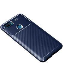 Oppo A12 Hoesje Geborsteld Carbon Flexibele Back Cover Blauw