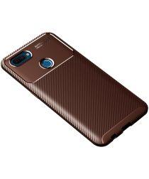 Oppo A12 Hoesje Geborsteld Carbon Flexibele Back Cover Bruin