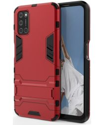 Oppo A52/A72 Hoesje Shock Proof Back Cover Met Kickstand Rood