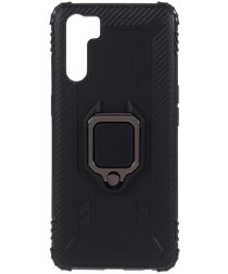 Oppo A91 Hoesje met Kickstand Ring Zwart