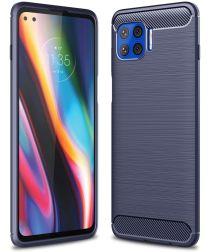 Motorola Moto G 5G Plus Hoesje Geborsteld TPU Blauw