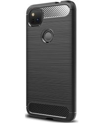 Google Pixel 4A Hoesje Geborsteld TPU Flexibel Zwart