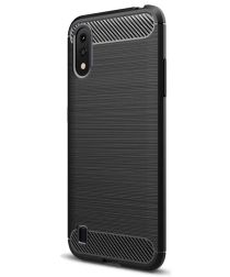 Samsung Galaxy A01 Hoesje Geborsteld TPU Flexibel Zwart
