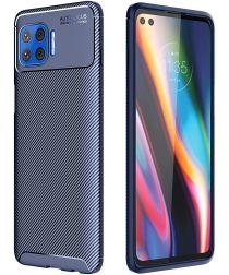 Motorola Moto G 5G Plus Siliconen Carbon Hoesje Blauw