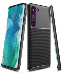 Motorola Edge Siliconen Carbon Hoesje Zwart