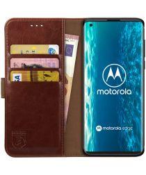 Rosso Element Motorola Edge Hoesje Book Cover Wallet Case Bruin
