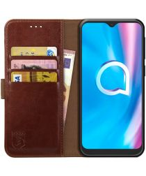 Rosso Element Alcatel 1SE 2020 Hoesje Book Cover Wallet Case Bruin