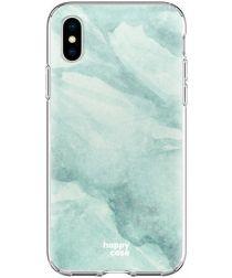 HappyCase Apple iPhone XS Flexibel TPU Hoesje Mint Marmer Print