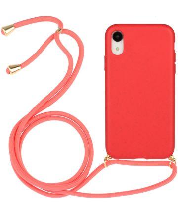 Apple iPhone XR Hoesje Back Cover Flexibel TPU met Koord Rood Hoesjes