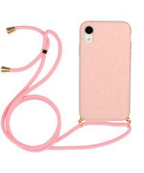 Apple iPhone XR Hoesje Back Cover Flexibel TPU met Koord Roze