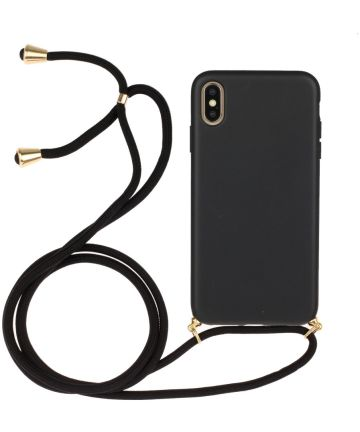 Apple iPhone X / XS Hoesje Back Cover Flexibel TPU met Koord Zwart
