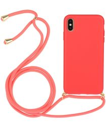 Apple iPhone X / XS Hoesje Back Cover Flexibel TPU met Koord Rood