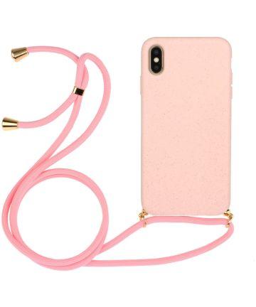 Apple iPhone X / XS Hoesje Back Cover Flexibel TPU met Koord Roze