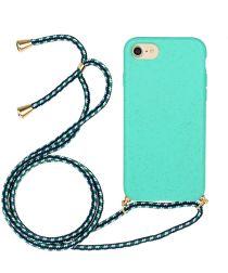 Apple iPhone 6/6S/7/8 Hoesje Back Cover Flexibel TPU met Koord Blauw