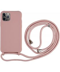 Apple iPhone 11 Pro Hoesje Back Cover Flexibel TPU met Koord Roze