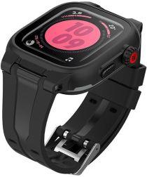 SHELLBOX Waterdicht en Hybride Apple Watch 44MM Hoesje en Bandje Zwart
