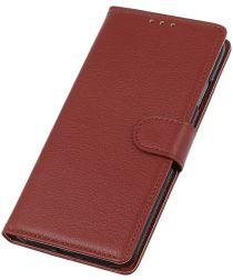 Huawei P40 Lite Litchi Skin Leren Portemonnee Hoesje Bruin
