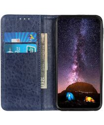 Huawei P40 Lite E Crazy Horse Leather Wallet Case Blauw