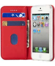 LC.IMEEKE Apple iPhone SE / S5 / 5 Portemonnee Stand Hoesje Rood