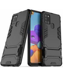 Samsung Galaxy A21S Hoesje Shock Proof Back Cover Met Kickstand Zwart