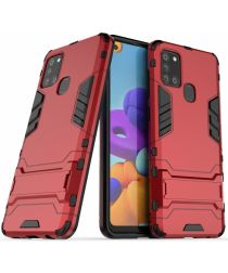 Samsung Galaxy A21S Hoesje Shock Proof Back Cover Met Kickstand Rood