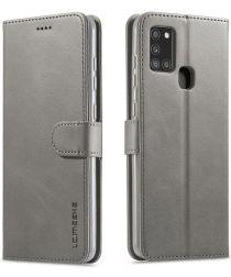 Samsung Galaxy A21S Stijlvol Vintage Portemonnee Bookcase Hoesje Grijs