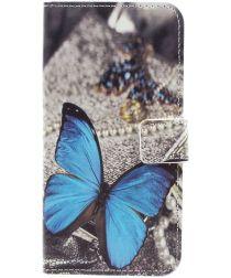 Samsung Galaxy A3 (2017) Portemonnee Hoesje met Blauwe Vlinder Print