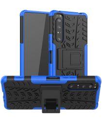 Sony Xperia 1 II Hybride Hoesje met Kickstand Blauw
