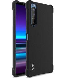 IMAK Sony Xperia 1 II Hoesje TPU met Screenprotector Metaal Zwart