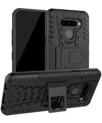 LG Q60 Hybride Kickstand Hoesje Zwart