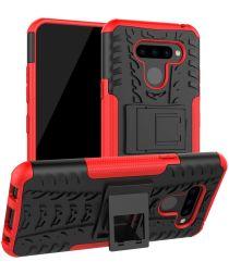 LG Q60 Hybride Kickstand Hoesje Rood