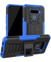 LG Q60 Hybride Kickstand Hoesje Blauw
