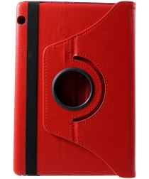 Huawei MediaPad T5 Litchi Skin Hoes met Roterende Stand Rood