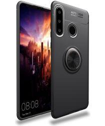 Huawei P30 Lite TPU Hoesje met Ring Kickstand Zwart