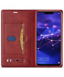 LC.IMEEKE Huawei Mate 20 Lite Retro Portemonnee Hoesje Kunstleer Rood