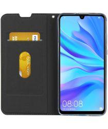 Huawei P30 Lite Kunstlederen Portemonnee Hoesje met Polsband Zwart