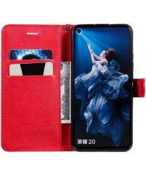 Huawei Honor 20 Kunstleer Portemonnee Stand Hoesje Rood