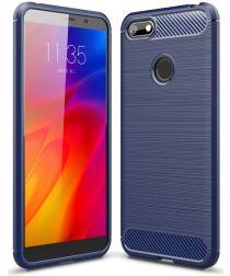 Motorola Moto E6 Play Hoesje Geborsteld TPU Flexibel Blauw