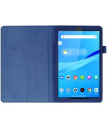 Lenovo Tab M8 Litchi Skin Two-Fold Book Case Hoes Donker Blauw